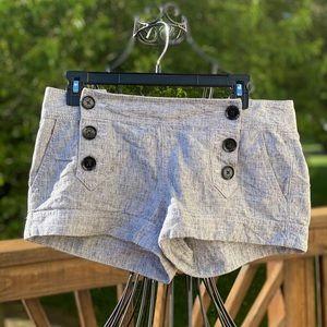 Express Gray And Black Linen Shorts